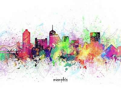 Abstract Skyline Royalty-Free and Rights-Managed Images - Memphis Skyline Artistic by Bekim M