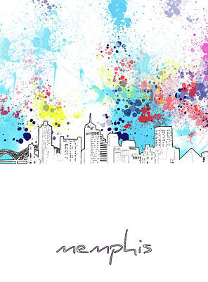 Music Royalty-Free and Rights-Managed Images - Memphis Skyline Color Splatter by Bekim M