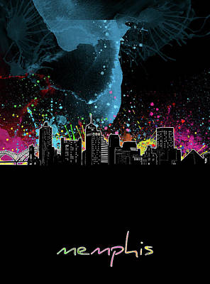 Music Royalty-Free and Rights-Managed Images - Memphis Skyline Color Splatter Black by Bekim Art