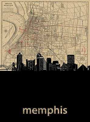 Music Royalty-Free and Rights-Managed Images - Memphis Skyline Map by Bekim M