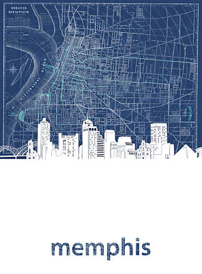 Music Royalty-Free and Rights-Managed Images - Memphis Skyline Map Blue by Bekim Art