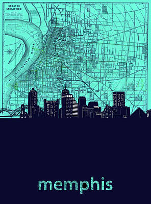 Music Royalty-Free and Rights-Managed Images - Memphis Skyline Map Green by Bekim M
