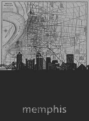 Music Royalty-Free and Rights-Managed Images - Memphis Skyline Map Grey by Bekim Art