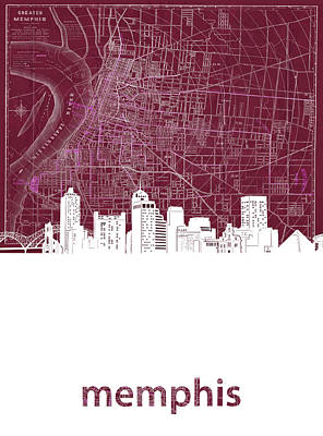 Music Royalty-Free and Rights-Managed Images - Memphis Skyline Map Red by Bekim M