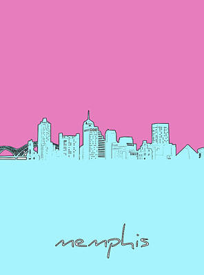 Royalty-Free and Rights-Managed Images - Memphis Skyline Minimal by Bekim M