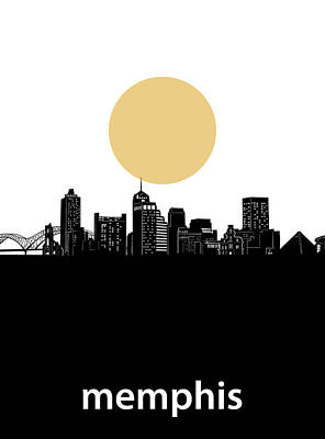 Music Royalty-Free and Rights-Managed Images - Memphis Skyline Minimalism by Bekim M