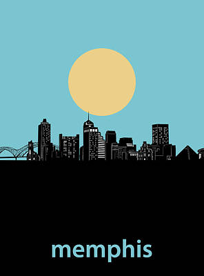 Music Royalty-Free and Rights-Managed Images - Memphis Skyline Minimalism Blue by Bekim M