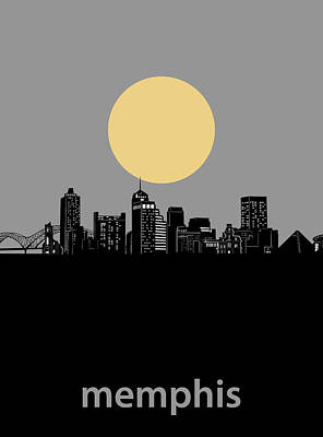Music Royalty-Free and Rights-Managed Images - Memphis Skyline Minimalism Grey by Bekim Art