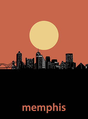 Music Royalty-Free and Rights-Managed Images - Memphis Skyline Minimalism Orange by Bekim M