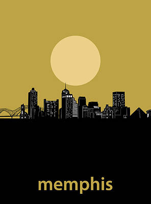 Music Royalty-Free and Rights-Managed Images - Memphis Skyline Minimalism Yellow by Bekim M