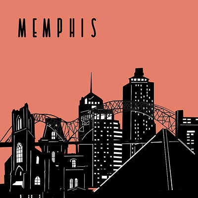 Abstract Skyline Royalty-Free and Rights-Managed Images - Memphis Skyline Panorama Red by Bekim Art