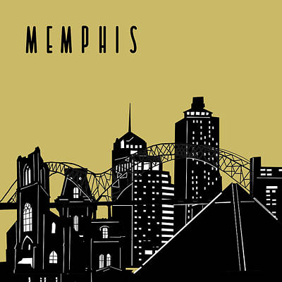 Music Royalty-Free and Rights-Managed Images - Memphis Skyline Panorama Yellow by Bekim M