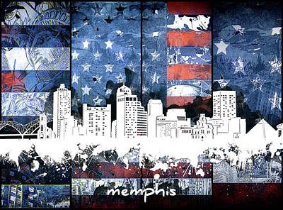 Music Royalty-Free and Rights-Managed Images - Memphis Skyline Usa Flag 2 by Bekim Art
