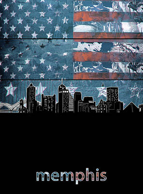 Digital Art Royalty Free Images - Memphis Skyline Usa Flag 3 Royalty-Free Image by Bekim Art