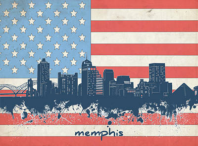 Digital Art Royalty Free Images - Memphis Skyline Usa Flag Royalty-Free Image by Bekim Art