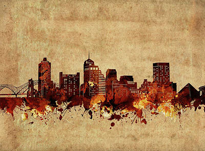 Abstract Skyline Royalty-Free and Rights-Managed Images - Memphis Skyline Vintage by Bekim Art