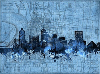 Music Royalty-Free and Rights-Managed Images - Memphis Skyline Vintage Blue by Bekim M