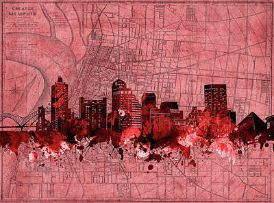 Abstract Skyline Royalty-Free and Rights-Managed Images - Memphis Skyline Vintage Red by Bekim Art
