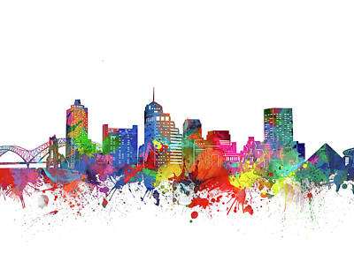 Music Royalty-Free and Rights-Managed Images - Memphis Skyline Watercolor by Bekim M
