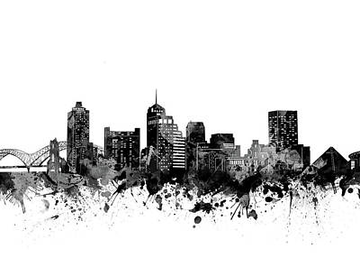 Digital Art - Memphis Skyline Watercolor Black And White by Bekim Art