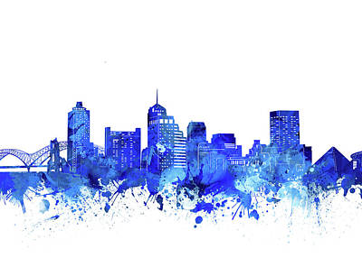 Digital Art - Memphis Skyline Watercolor Blue by Bekim Art