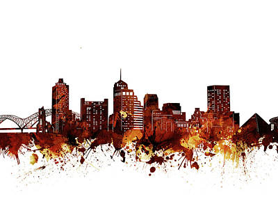 Music Royalty-Free and Rights-Managed Images - Memphis Skyline Watercolor Brown by Bekim M