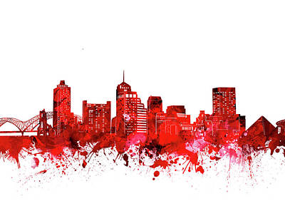 Music Royalty-Free and Rights-Managed Images - Memphis Skyline Watercolor Red by Bekim M