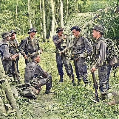 Sara Habecker Folk Print - Men of the Special Air Service in the jungle during the Malayan Emergency by Artistic Panda