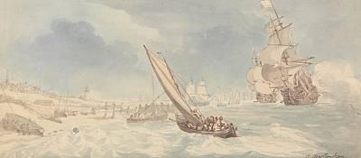 Drawing - Men-of-war And Sailing Boats Near A Shore by Thomas Rowlandson