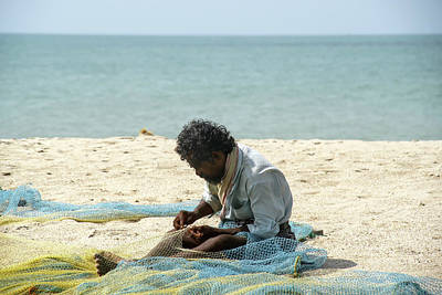 Pop Art Rights Managed Images - Mending Nets in Dhanushkodi Royalty-Free Image by Carol Ailles
