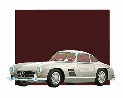 Digital Art - Mercedes 300sl Gullwings 1964 by Jan Keteleer