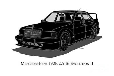 Digital Art - Mercedes-benz 190e 2.5-16 Evolution II - Front View by David Marchal
