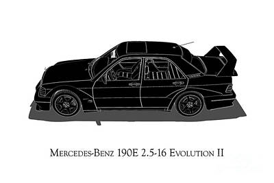 Digital Art - Mercedes-benz 190e 2.5-16 Evolution II - Side View by David Marchal