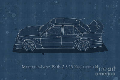 Digital Art - Mercedes-benz 190e 2.5-16 Evolution II - Side View - Stained Blu by David Marchal