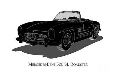 Digital Art - Mercedes-benz 300 Sl Roadster - Front View by David Marchal