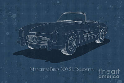 Digital Art - Mercedes-benz 300 Sl Roadster - Front View - Stained Blueprint by David Marchal