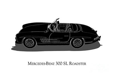 Digital Art - Mercedes-benz 300 Sl Roadster - Side View by David Marchal