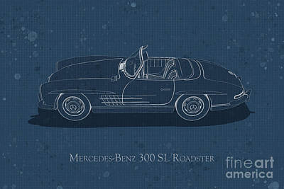 Digital Art - Mercedes-benz 300 Sl Roadster - Side View - Stained Blueprint by David Marchal