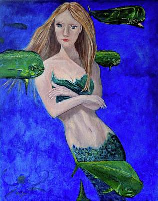 Painting - Mermaid and Mahi by Mike Jenkins