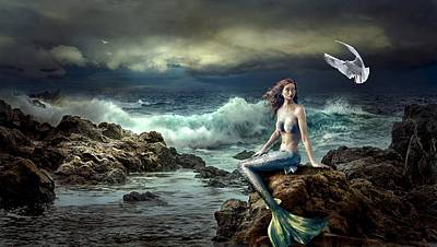 Photograph - Mermaid on the rocks by Fine Art Gallery