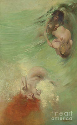 Painting - Mermaids And Sea Nymphs by Eric Pape