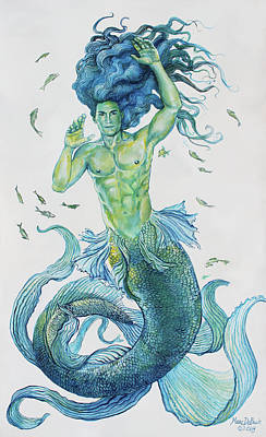 Painting - Merman Clyde by Marc DeBauch