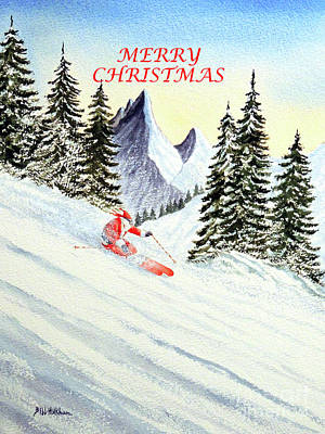 Colorado Ski Painting - Merry Christmas And The Skiing Santa by Bill Holkham