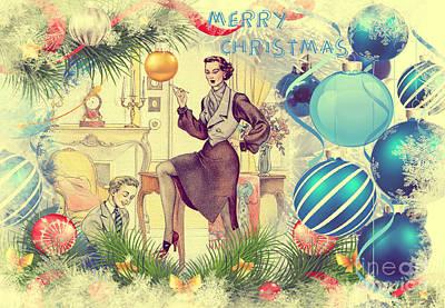 Drawing - Merry Christmas Mistress by Bernard Montorgeil