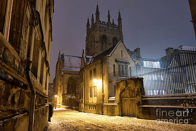 Photograph - Merton Street Oxford In The Snow Before Dawn by Tim Gainey