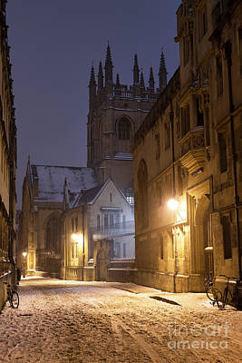 Photograph - Merton Street Oxford In The Snow by Tim Gainey