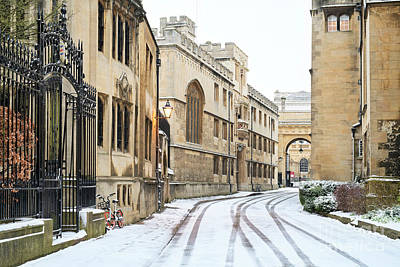 Photograph - Merton Street Oxford In The Winter Snow by Tim Gainey