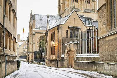Photograph - Merton Street Oxford In Winter by Tim Gainey