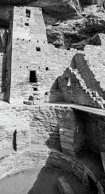 Photograph - Mesa Verde Cliff Dwellings - Black And White by Gregory Ballos