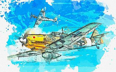 Up Up And Away - Messerschmitt Bf 109 WWII German Fighter Jet watercolor by Ahmet Asar by Ahmet Asar